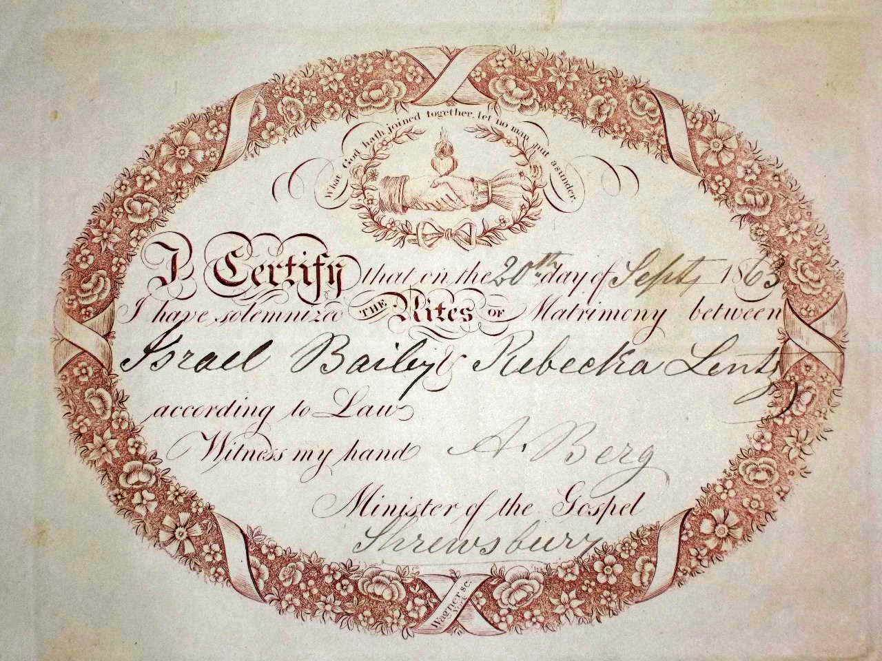 21 CHRIST LUTHERAN EARLY MARRIAGE CERTIFICATE